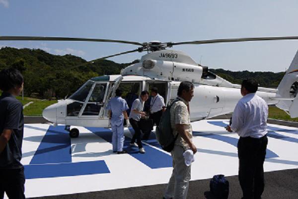 君津衛星管制所へのヘリコプターによる人員輸送訓練